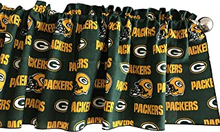 100% Cotton NFL Sports Team Green Bay Packers Green Multi-Print Window Valance Panel/Kids Nursery Window Treatment Decor (14
