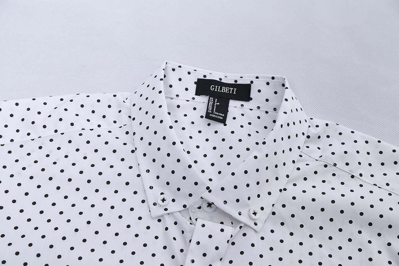 AVANZADA Men's Casual Dress Cotton Polka Dots Short Sleeve Shirts