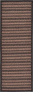 Unique Loom Outdoor Border Collection Striped Casual Transitional Indoor and Outdoor Flatweave Brown Runner Rug (2' 2 x 6' 0)