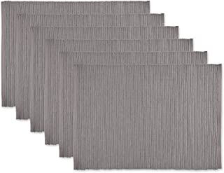 DII CAMZ36385 Ribbed Cotton Placements, Placemat Set, Gray, 6 Piece