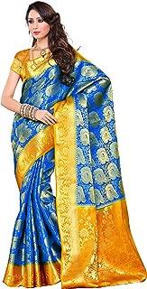 Women's Traditional Artificial Silk Saree Kanchipuram. Royal Blue