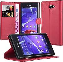 Cadorabo Funda Libro para Sony Xperia M2 Aqua en Rojo Carmin – Cubierta Proteccíon con Cierre Magnético, Tarjetero y Función de Suporte – Etui Case Cover Carcasa