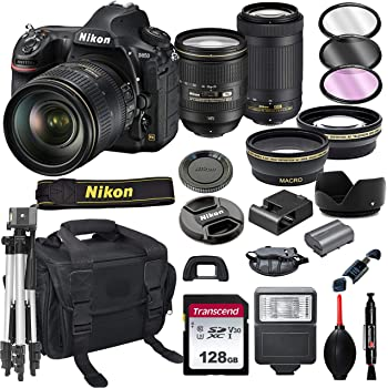 Nikon D850 DSLR Camera with 24-120mm VRand 70-300mm Lens Bundle + 128GB Card, Tripod, Flash, and More (21pc Bundle)