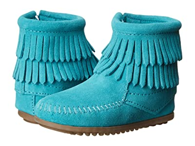 Minnetonka Kids Side Zip Double Fringe (Toddler/Little Kid/Big Kid) (Turquoise) Girls Shoes