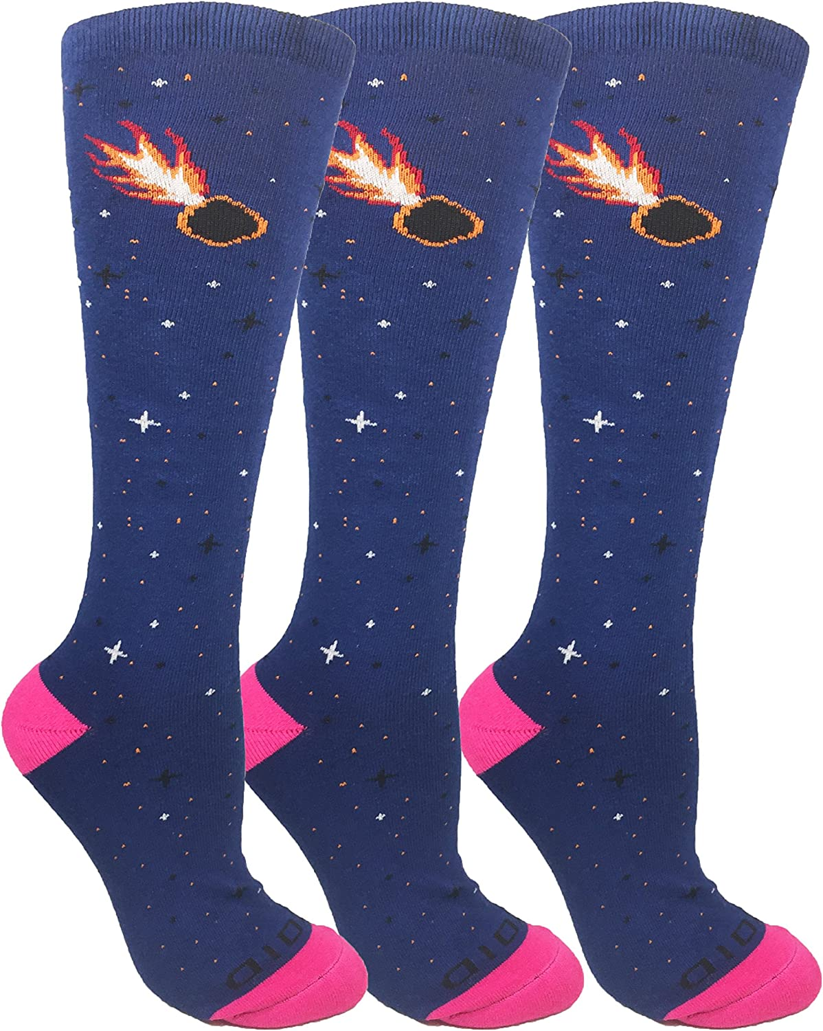 Moxy Socks 3Pack Women's Galaxy Line Navy Asteroid Performance KneeHigh Socks