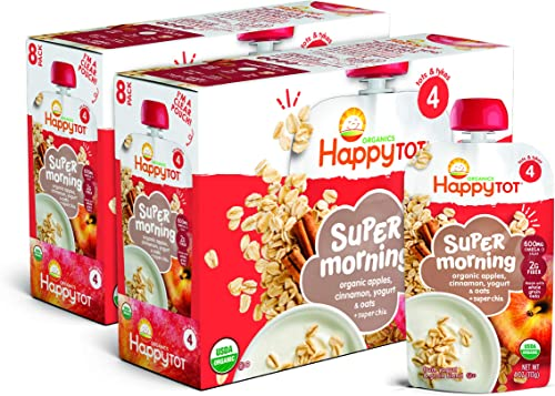Happy Tot Organic Stage 4 Super Morning Apple Cinnamon Yogurt Oats + Super Chia, 4 Ounce Pouch (Pack of 8) (Packaging...