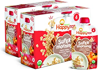 Happy Tot Organics Super Morning Stage 4, Apple Cinnamon, Yogurt, Oats + Super Chia, 4 Ounce Pouch (Pack of 8) packaging m...