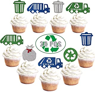 Glitter Garbage Truck Cupcake Toppers- Garbage Trash Trucks Birthday Cupcake Toppers Recycling Decorations Party Supplies for Kids (Set of 24)