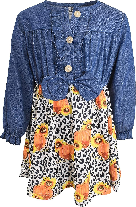 Unique Baby Girls Denim Leopard Print Sunflower Pumpkin Patch Fall Dress