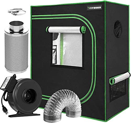 """discount VIVOSUN Air Filtration Kit: 4 Inch 203 CFM Inline Fan, discount 4'' Carbon Filter and 8 Feet of Ducting, and 30""""x18""""x36"""" Mylar outlet online sale Hydroponic Grow Tent outlet online sale"""