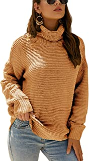 Angashion Women's Casual Long Sleeve Turtleneck Cable Knit Oversized Pullover Sweater Tops