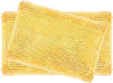 """Laura Ashley 2-Piece Butter Chenille 20"""" x 34"""" Bath Mat Set, Yellow"""