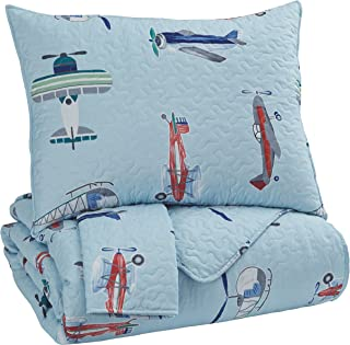 Ashley Furniture Signature Design - McAllen Full Quilt Set - Set of 3 - Contemporary - Airplanes & Helicopters