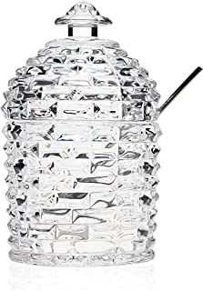 Godinger Silver Art Beehive Crystal Jam Jar with Stainless Steel Spoon