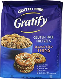 Gratify Gluten Free Pretzel Thins, Sesame, 6 Ounce (Pack of 6)