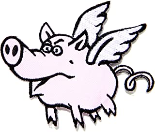 Flying Pig Cartoon Comics Logo Kid Baby Jacket T-shirt Patch Sew Iron on Embroidered Sign Badge Costume Clothing Gift