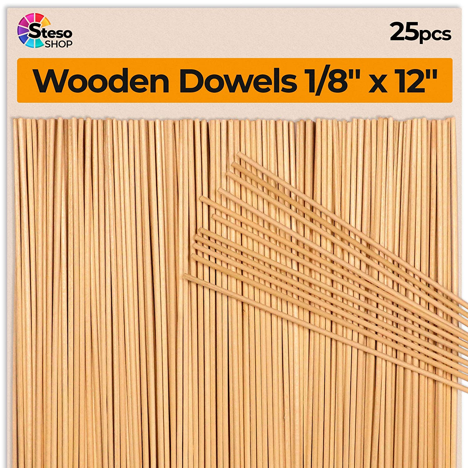 Wooden Dowel Rods 12 inch 1/8 ? - Thin Wooden Dowels Craft - 25 pcs - Dowel Rods for Crafts - Unfinished Natural Wood Craft Sticks Hardwood Dowel Supplies