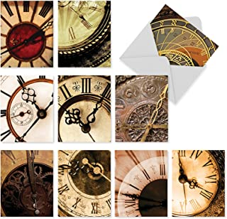 Assortment of 10 Blank Greeting Cards with White Envelopes 4 x 5.12 inch - 'Clockworks' Boxed Note Cards for All Occasions - Clock, Time, Watch Stationery Notecard Set M2010