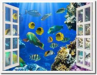 """Tropical Island Fish Picture French Window Art Framed Print on Canvas Office Wall Home Decor Collection Gift Ideas, 28""""X37"""""""