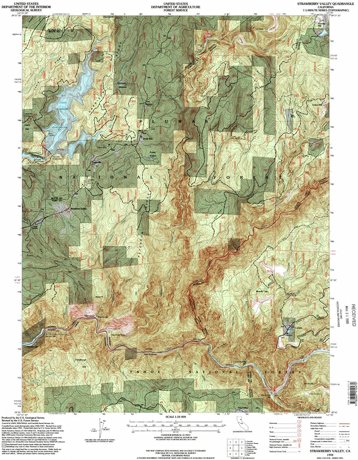 Strawberry Valley CA topo map, 1 24000 Scale, 7.5 X 7.5 Minute, Historical, 1994, Updated 1998, 26.7 x 21.9 in