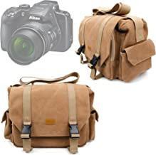 DURAGADGET Tan Brown Large Canvas Bag Suitable For Nikon Coolpix A300 Coolpix A900 Coolpix B500 Coolpix B700 Cameras With Adjustable Storage Compartments Multiple Pockets
