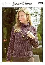 James C. Brett Knitting Pattern Womens Sweater and Hat in Flutterby Super Chunky Yarn (JB332)