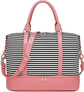 BLUBOON Weekender Bag Women Ladies Overnight Carry-on Tote Canvas Travel Duffle Bag with Shoe Compartment in Trolly Sleeve (289 Pink -Black Stripe)