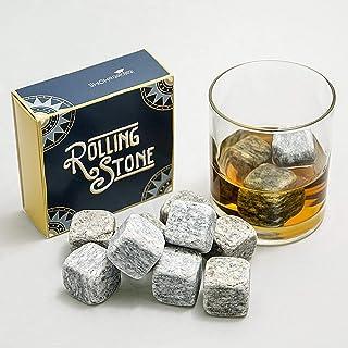 Rolling Stone: cubetti ghiaccio riutilizzabili in Pietra naturale di Luserna con sacchetto di stoffa per whisky, vino e be...