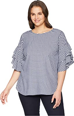 Plus Size Gingham Ruffle Sleeve Top