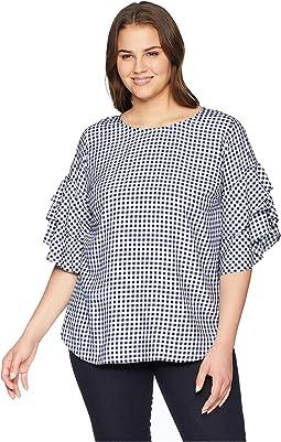 Karen Kane Plus Plus Size Gingham Ruffle Sleeve Top