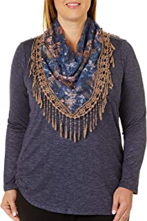 OneWorld Women's Plus-Size Long Sleeve Top with Printed Scarf,