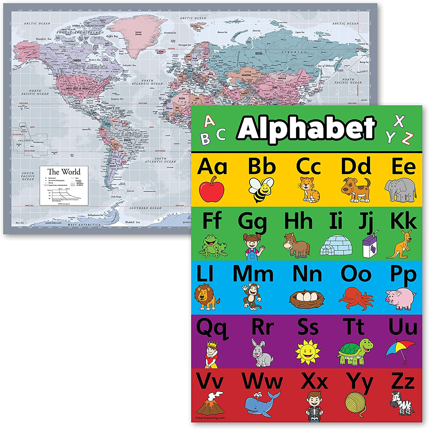 World Map Purple ABC Alphabet Chart for Set 2 of Sale Sale special price item Kids Post -