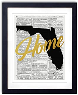 Florida Home Gold Foil Art Print - Vintage Dictionary Reproduction Art Print