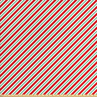 Ambesonne Candy Cane Fabric by The Yard, Bicolor Stripes and Lines Traditional Design Seasonal Pattern, Decorative Fabric for Upholstery and Home Accents, 2 Yards, Fern Green
