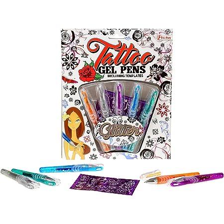 Brandsseller 5 bolígrafos de gel con purpurina, con plantilla.