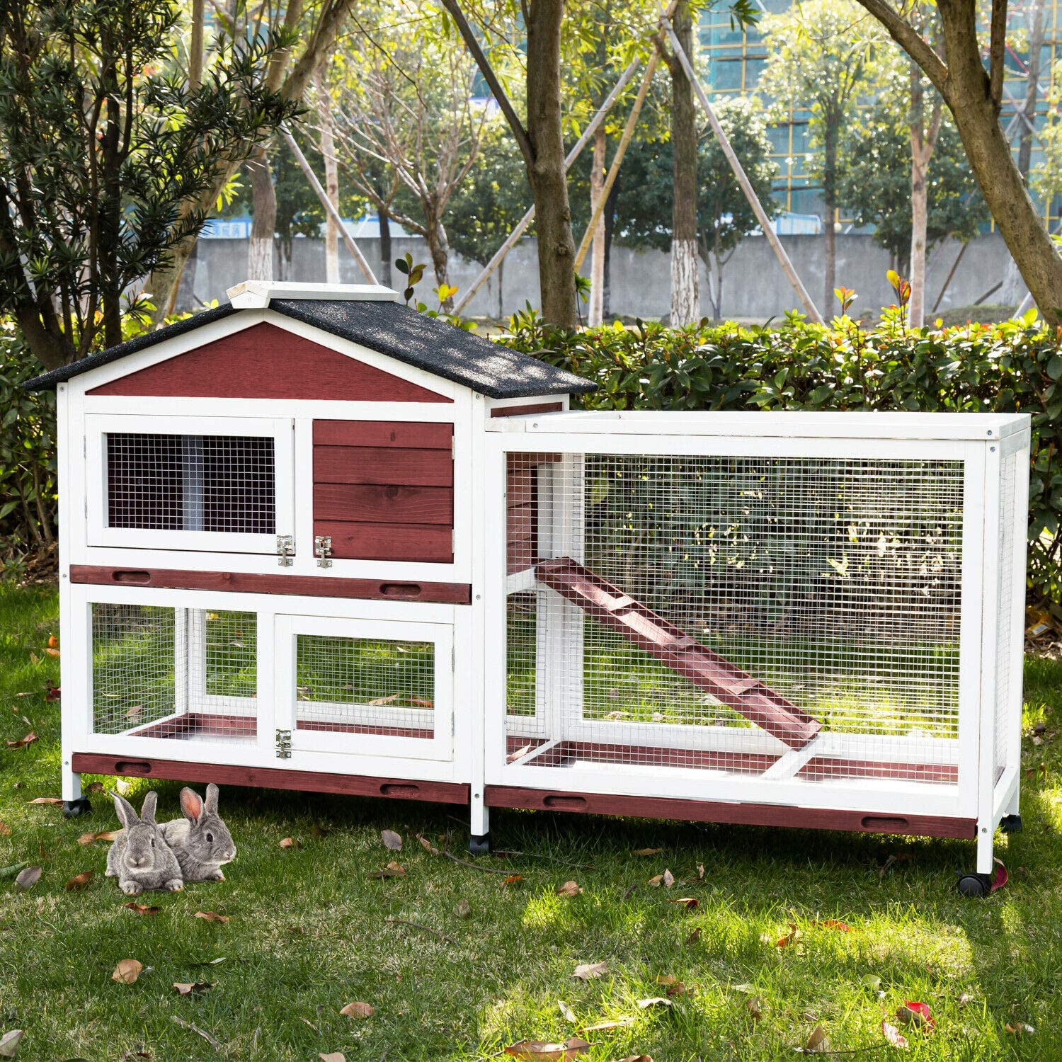 15+ Kintness Large Wooden Rabbit Hutch Indoor and Outdoor Bunny cage on Wheels  Guinea Pig Coop PET House for Small with Ramp and Cleaning Tray Bilder