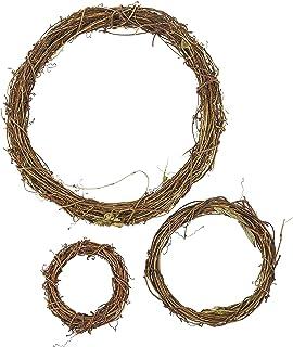 Grapevine Wreath Set – 3-Piece Vine Branch Wreath, Decorative Wooden Twig for Craft, Decor, Door, House, Holiday – 3 Sizes...
