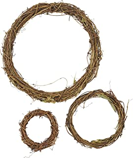 Juvale Grapevine Wreath Set – 3-Piece Vine Branch Wreath, Decorative Wooden Twig for Craft, Decor, Door, House, Holiday – 3 Sizes, Large, Medium, Small