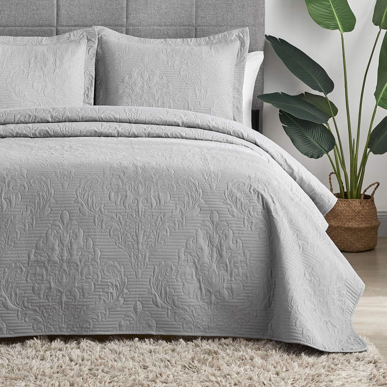 Hansleep Quilt Set Lightweight Bed Decor Coverlet Set Comforter Bedding Cover Bedspread for All Season Use (Grey, Full/Queen)
