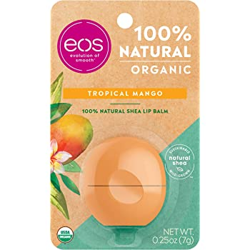 eos Natural & Organic Sphere Lip Balm - Tropical Mango   Certified Organic & 100% Natural   Deeply Hydrates and Seals in Moisture   0.25 oz (Packaging May Vary)