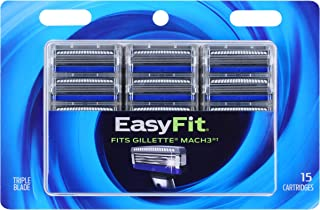 Personna EasyFit 3 Mach3 Razor Handle Compatible Refill Cartridges –15 Count Personna EasyFit Mach3 Razor Blade Refills - Compatible Mach3 Handles Made Before 2019
