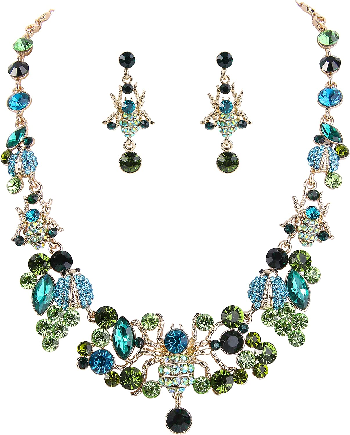 EVER FAITH Women's Crystal Goegeous Spiders with Beetles Lovely Insect Necklace Earrings Set