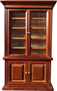 Inusitus Miniature Dollhouse Display Cabinet - Dolls House Mini Furniture Glass Bookcase - 1/12 Scale (Medium Brown)