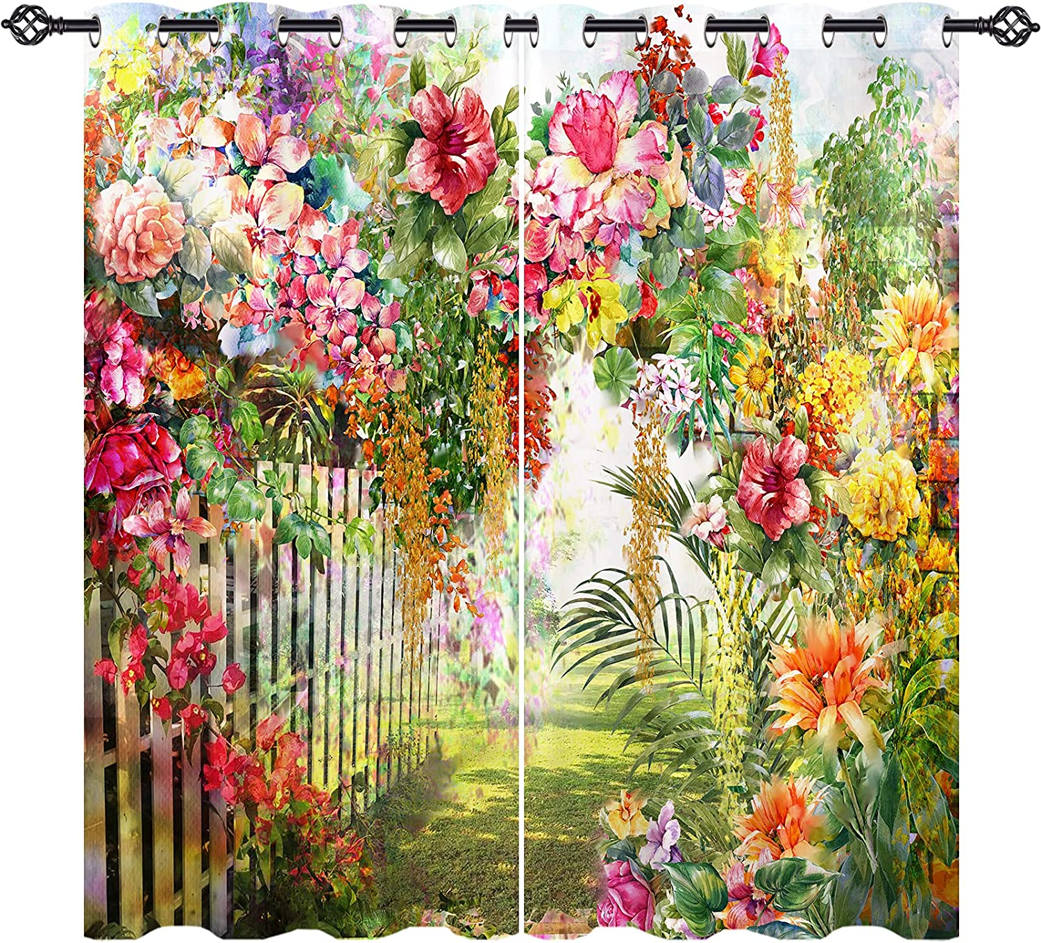 ANHOPE Abstract Floral shopping Curtains with Grommet Blackout S Max 47% OFF