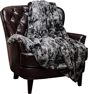 Chanasya Faux Fur Throw Blanket | Super Soft Fuzzy Light Weight Luxurious Cozy Warm Fluffy Plush Hypoallergenic Blanket for Bed Couch Chair Fall Winter Spring Living Room (60 x 70) - Dark Grey