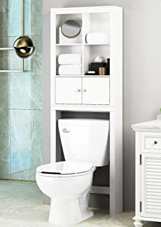 Spirich Home Bathroom Shelf Over The Toilet, Bathroom Cabinet Organizer Over Toilet, Space Saver Cabinet Storage (White)