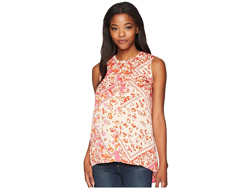 Ellen Tracy Sleeveless Two-Pocket Shirt (Scarf/Begonia Combo) Women