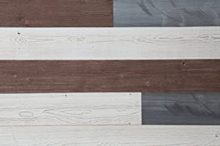 Woody Walls Peel and Stick Wood Wall Panels, Three Color Combinations, 19.5 sq. ft. per Box, White, Natural Gray, Old Brown