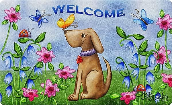 Toland Home Garden 800202 Welcome Dog 18 X 30 Inch Decorative Standard Doormat