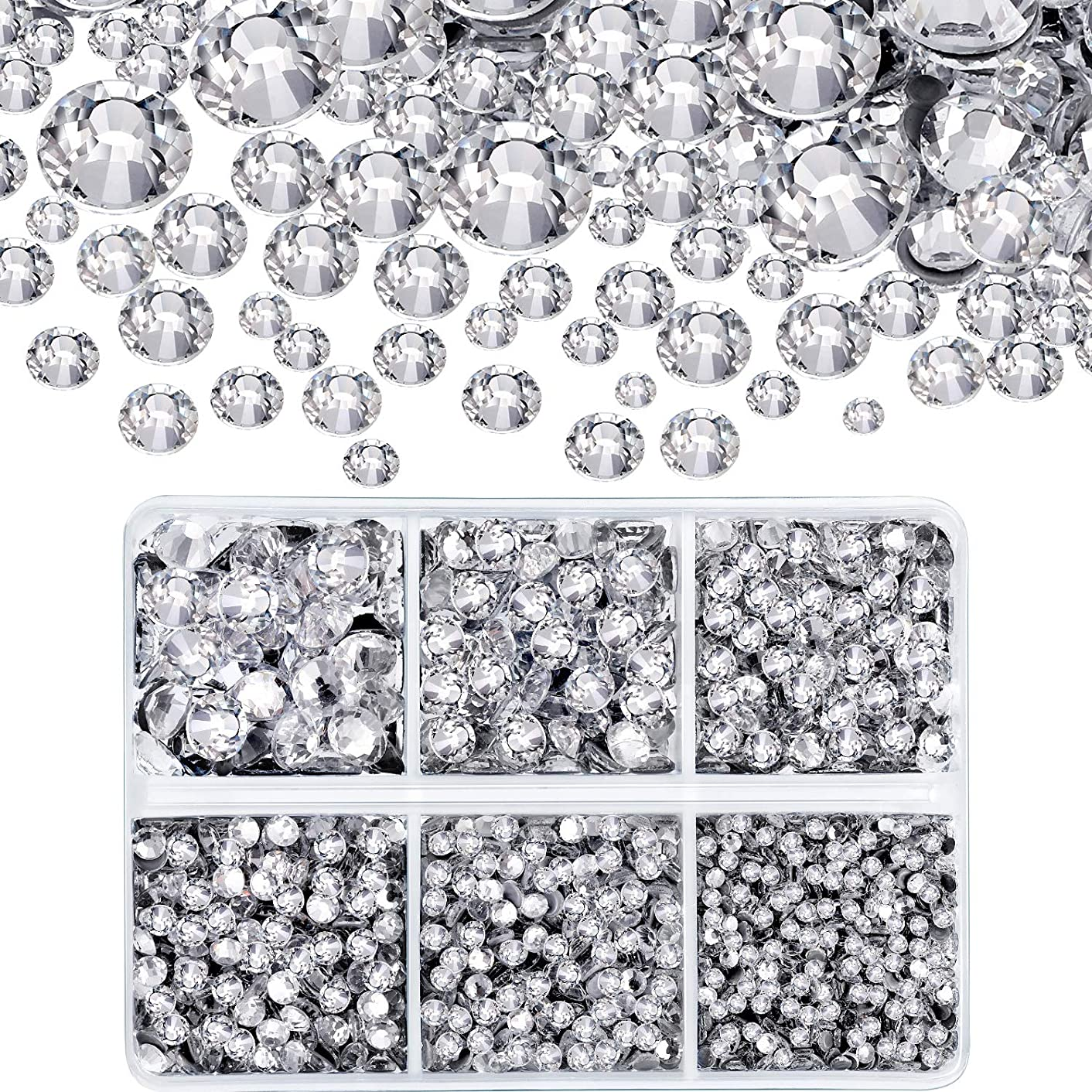 4000 Pieces Mixed Size Hot Fix Round Crystals Gems Glass Stones Hotfix Flat Back Rhinestones (Clear Color)